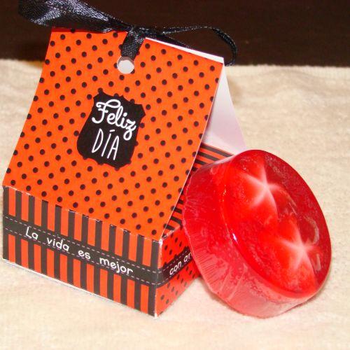 Jabon en caja roja rayas y puntos
